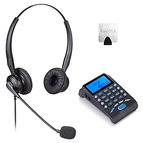 Landline Telephone Headset with Noise Canceling Mic, Dial Pad and 4-Pin RJ9 Crystal Head for Call Center, Business, Office, Office Phones - Black