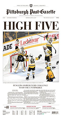 Pittsburgh Penguins 2017 Stanley Cup Champions Pittsburgh Post Gazette Newspaper  6 12 2017