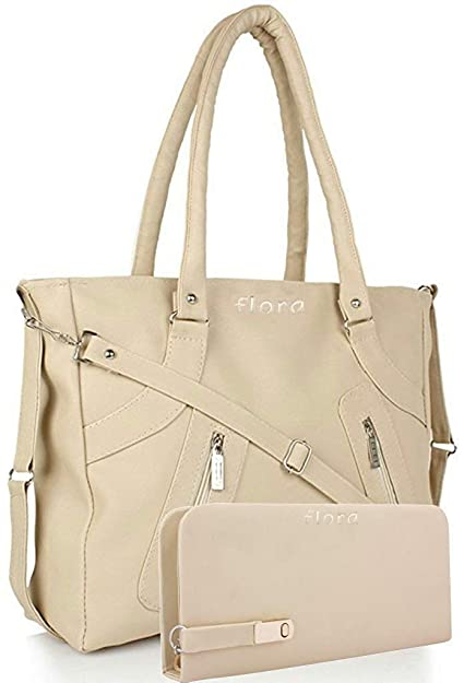 08bd2200aaf3 Flora Women s Pu Leather Handbag And Wallet Clutch Combo (Lbwc-4) (Cream