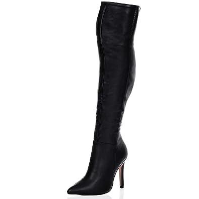 cb8c7b394cc7 Spylovebuy HIGH Heel Stiletto Over Knee Tall Boots Black Suede Style SZ 5