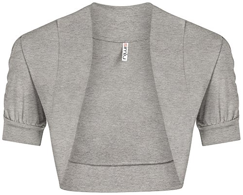 Simlu Heather Grey Bolero Shrug for Ladies Formal Dressy Bolero Top Grey Shrug Cardigan Heather Grey Medium - Grey Shrug Top Shirt