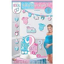 Género reveal Kit de decoraciones, fiesta de bebé (10 pieza) con recortes, anuncio, centro de mesa.
