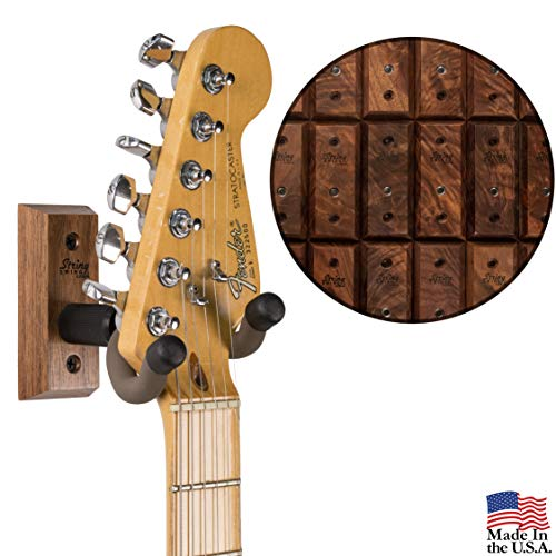 String Swing Premium Guitar Wall Mount - Holder for Electric Acoustic and Bass Guitars - Stand Accessories Home or Studio Wall - Musical Instruments Safe - Unique Hand Selected Black Walnut CC01K-BW ()