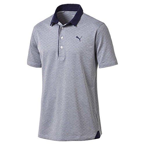 Jacquard Diamond Polo - Puma Golf Men's 2018 Diamond Jacquard Polo, Large, Peacoat Heather