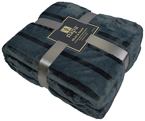 "Napa Plush Cashmere Throw Blanket Dark Grey, King 108""x90"", Striped Reversible Velvet Luxury Fleece Warm Bed Couch Blanket, Super Soft and Cozy"