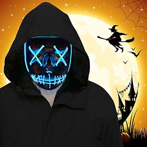 ORWINE Halloween LED Mask Scary Light up Masks Led Purge Mask Halloween Cosplay Costume Party Favors for Adults Kids Women Men, 1pc Blue
