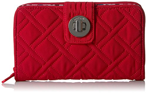 Vera Bradley Women's RFID Turnlock Wallet, Cardinal red, One Size ()