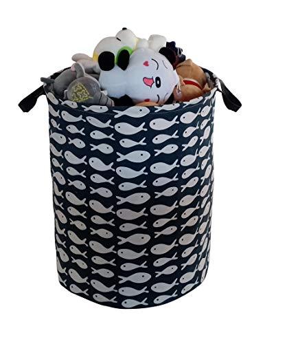 KUNRO Large Sized Round Storage Basket Waterproof Coating Organizer Bin Laundry Hamper for Nursery Clothes Toys (Fish)