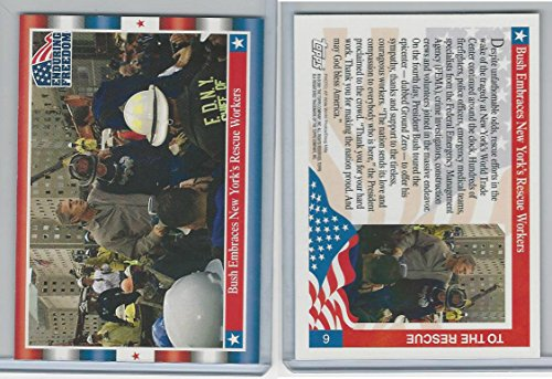 2001 Topps, Enduring Freedom, 6 Bush Embraces New York's Rescue by Topps