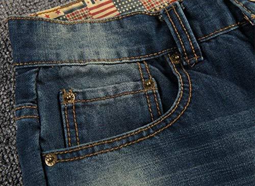 Da Fit Comodo In Denim Uomo Strappato Di Pantaloni Blau Battercake Stile Strappati Skinny Jeans Blu 5zvxqBxw