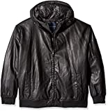 Tommy Hilfiger Men's Big and Tall Smooth Faux Leather Bomber Jacket with Double Hood, Black, LT