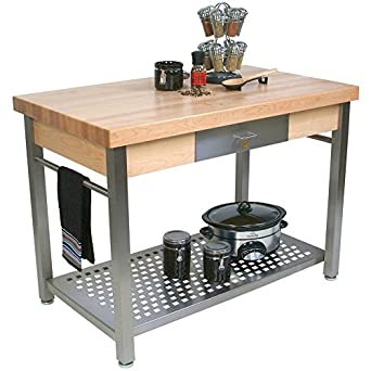 Amazon.com: Cucina Grande Prep Table with Butcher Block Top Size / Drop Leaves: 48