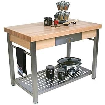 Cucina grande prep table with butcher block for Top cucina amazon