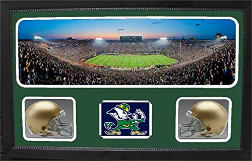 Encore Select 657-34 NCAA Notre Dame Fighting Irish Custom Framed Sports Memorabilia with Two Mini Helmets Photograph and Name Plate by Encore