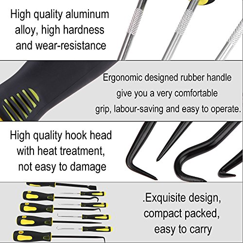 Hook Pick Set, 9Pcs Precision Scraper Hook and Pick Set O-Ring and Seal Remover Puller Craft Hobby Tool for Automotive and Electronic, including 4 short picks 4 long picks and 1 gasket scraper by Zerone (Image #6)