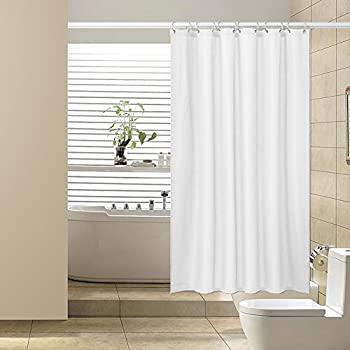 Amazon.com: Shower Curtain,Mildew Resistant Waffle Weave Fabric ...