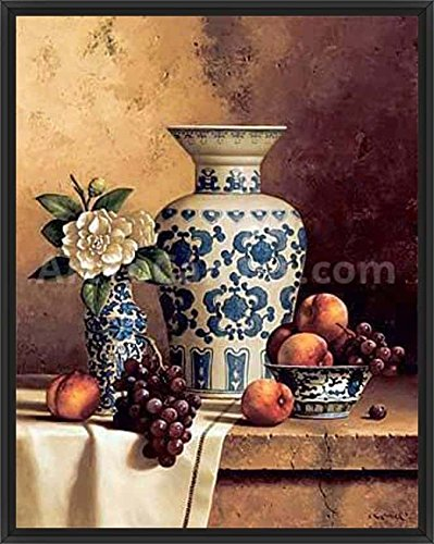 24in x 30in Blue & White Oriental Still Life with Peaches & Grapes by Loran Speck - Black Floater Framed Canvas w/ BRUSHSTROKES