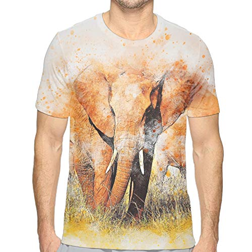 eeve Elephant Splash Watercolor Print Tunic T-Shirt Tops ()