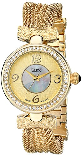 Burgi Women's BUR110YG Crystal Accented Yellow Gold Swiss Quartz Watch with White and Mother of Pearl Dial and Yellow Gold Bracelet (Dial Womens Yellow)