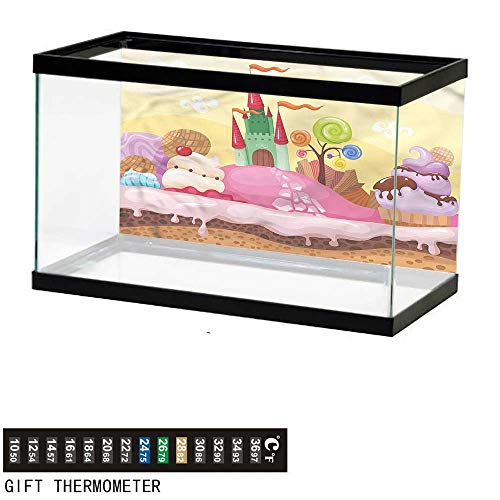 bybyhome Fish Tank Backdrop Cartoon,Kids Castle Scenery,Aquarium Background,48