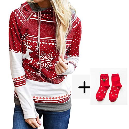 Simayixx Sweatshirts Women Women Reindeer Ugly Christmas Sweater Xmas Snowflakes Pullover Jumper Tops(S-2XL)