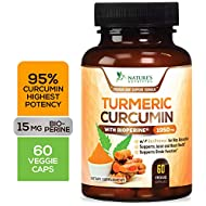 Turmeric Curcumin Highest Potency 95% Curcuminoids 1950mg with Bioperine Black Pepper for Best Absorption, Made in USA, Best Vegan Joint Pain Relief Turmeric Pills by Natures Nutrition - 60 Capsules