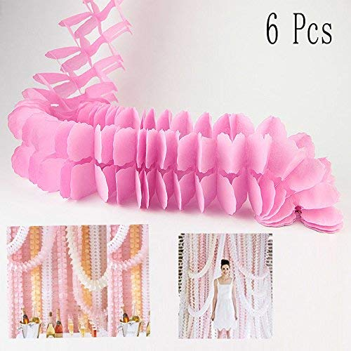 Hanging Garland,Paper Garland Pack of 6 Four-Leaf Tissue Paper Flower Garland Reusable Party Streamers for Party Wedding Decorations Party Decoratio (Pink Four-Leaf Clover Tissue Paper Garland) ()