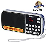 micro am fm radio - Aocome Portable Mini AM FM Radio Clear Speaker Music Player, Micro SD/TF Card Slot, USB Charging Cord, Rechargeable Li-ion battery, Earphone Jack (BM8 Blue)