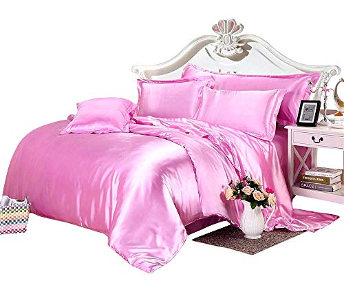 Spring Delight Hotel Quality Luxurious 3 Piece Silky Satin Comforter - Duvet Set (88'' x 90'') Microfiber Filling 400 GSM - Hypoallergenic Duvet Insert + 2 Pillowcases, Pink, Full XL