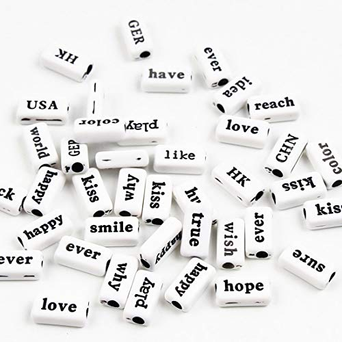 (Phrase Word Letter Spacer Beads Acrylic 8x14mm 50Pcs Bulk Charm Spacer Shape DIY Jewelry Making Name Necklace Bracelets (White 2))