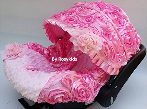 Infant Carseat Cover Canopy 4 Pc Whole Caboodle Baby Car Seat Cover Kit 3d Rosette C020801