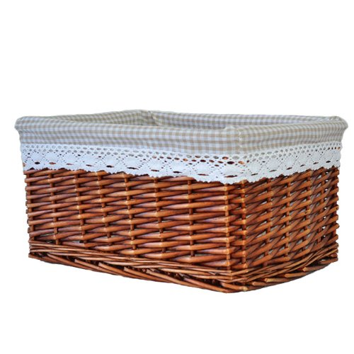 RURALITY Willow Wicker Storage Basket with Lining, Brown,Large