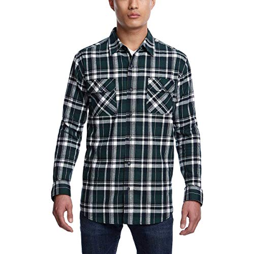 Two Pocket Flannel - Weatherproof Vintage Men Flannel Long Sleeve Button Down Shirt with 2 Pockets (Green, XX-Large)
