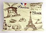 Ambesonne Eiffel Tower Pillow Sham, Patisserie Restaurant Drink Traditional Food Cheese Tasty Menu Sketchy Doodles, Decorative Standard King Size Printed Pillowcase, 36 X 20 inches, Sepia Tan