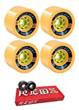 85mm Seismic Skate Systems Speed Vent Longboard Skateboard Wheels with Bones Bearings - 8mm Bones Super REDS Skate Rated Skateboard Bearings - Bundle of 2 items