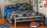 cool bunk beds Bed Metal Frame for Kids Bedroom, Teenager and Dorm. (Color: Silver, Size: full (It is the bed under the loft bed)