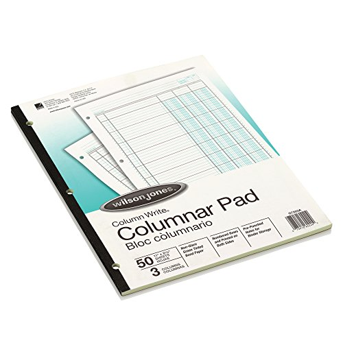Wilson Jones ColumnWrite Columnar Pad, 11 x 8.5 Inch Size, Ruled Both Sides Alike, 41 Lines per Page, 3 Columns, Green, 50 Sheets per Pad (WG7203A)