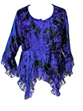 Dark Star Plus Size Blue Tie Dye Gothic Velvet Lace Renaissance Bell Sleeve Top (TAGGED XL FITS 1X)