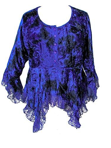 Dye Darkstar - Dark Star Plus Size Blue Tie Dye Gothic Velvet Lace Renaissance Bell Sleeve Top (TAGGED XXL FITS 2X)