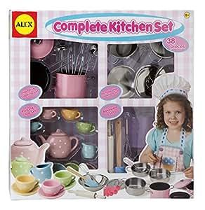 Alex toys pretend play complete kitchen set 606c for Kitchen set toys amazon