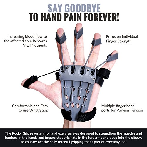 Rocky Grip Hand Strengthener Reverse Grip Hand Forearm Training Device Improves Flexibility for Musician's Fingers Helping Hand Stiffness