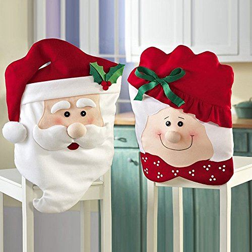 Christmas Chair Back Covers, Mr. and Mrs. Santa Clause Chair