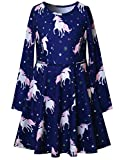 Navy Blue Girls Unicorn Dresses Long Sleeve Casual Cotton Dress Outfits