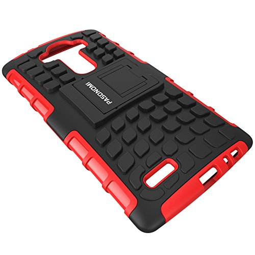 LG G4 Case, LG G4 Armor case, Pasonomi® Heavy Duty Hybrid Armor Case Cover with Soft Inner Skin and Kickstand For LG G4 (Red)
