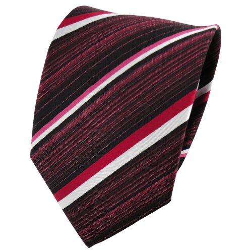 TigerTie cravate en soie rouge foncé argent noir rayé - cravate en soie