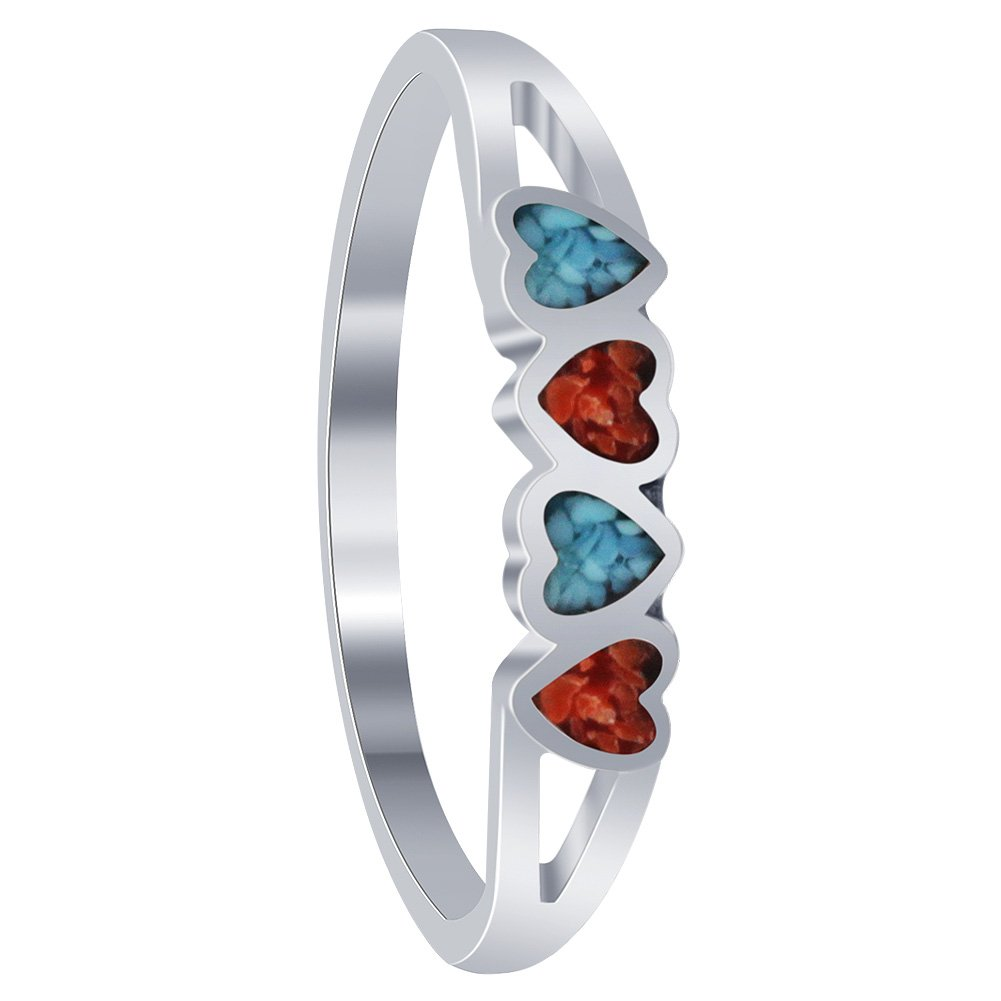 Gem Avenue 925 Sterling Silver Turquoise with Coral Gemstone Tiny Heart Ring