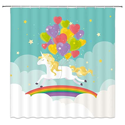 Qianliansheji Unicorn Shower Curtain Balloon Rainbow Bathroom Background Decorative With Hook Polyester 70