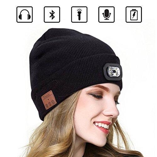 426a818c5d5 Audoc Bluetooth Beanie Knit Hats with LED Headlight USB Rechargeable  Wireless Unisex Musical Cap for Running