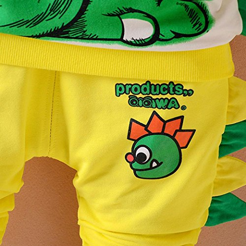 Omiky® 2Pcs Kleinkind scherzt Baby Jungen Mädchen Tier Dinosaurier Tops + Hosen Outfits Kleidung Set Gelb