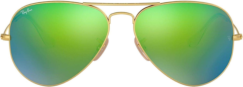 Ray-Ban RB3025, Gafas de Sol Unisex Adulto, Dorado (frame: Gold, lenses: Green Flash), Large (talla del fabricante 62)